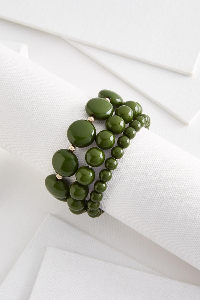 Oval Bead Stretch Bracelet Set
