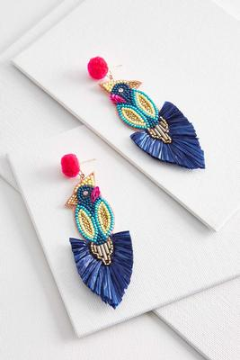 raffia seed bead bird earrings