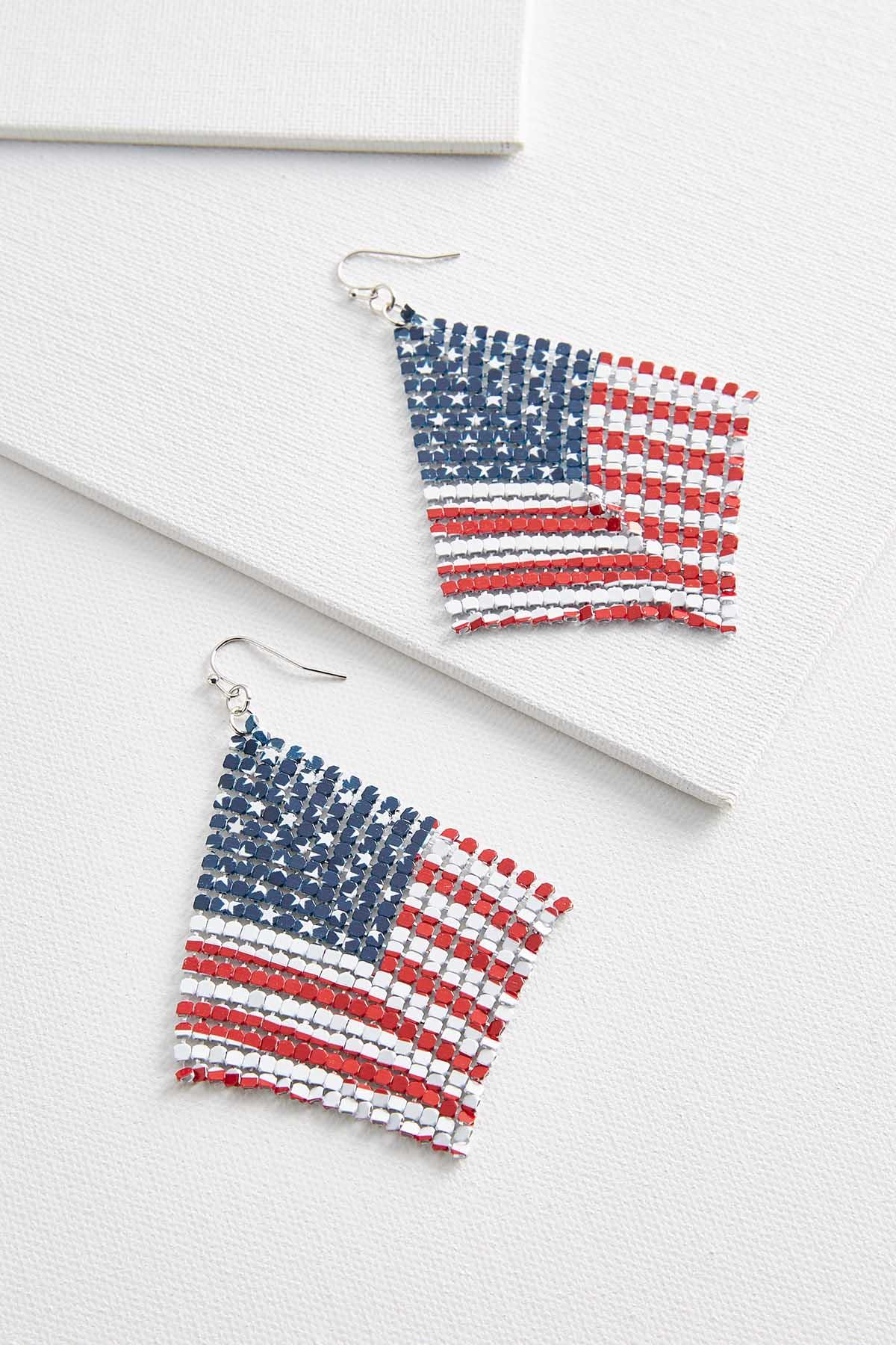 Flag Metal Mesh Earrings
