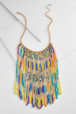 seed bead fringe bib necklace