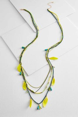 layered chain and feather necklace