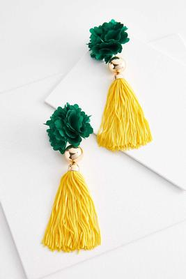 statement flower tassel earrings