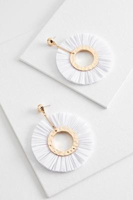 raffia circle fan earrings