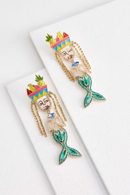 jeweled mermaid earrings