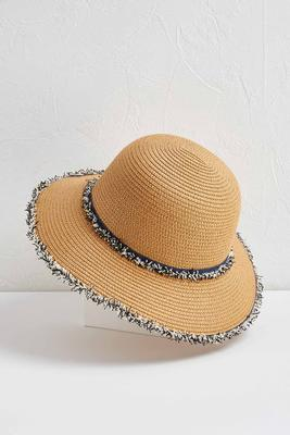 frayed straw bucket hat
