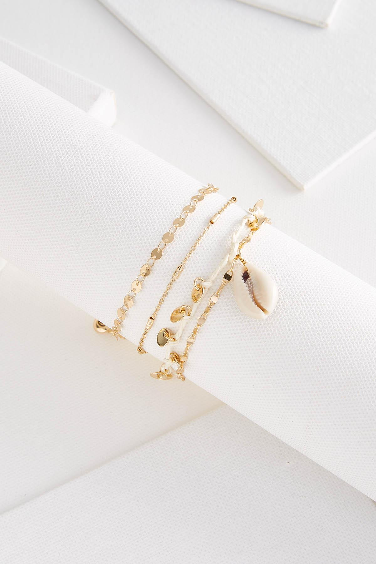 Shell And Disk Ankle Bracelet
