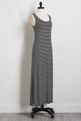 smocked stripe maxi dress