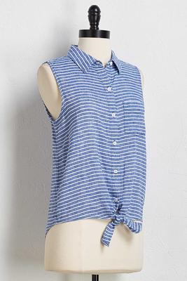 stripe button down tank