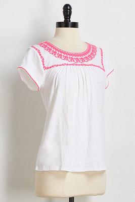 neon embroidered top