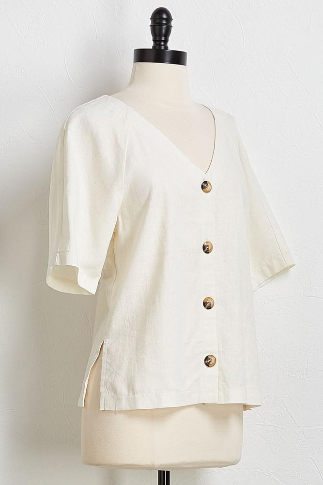 Button Linen Skimmer Top