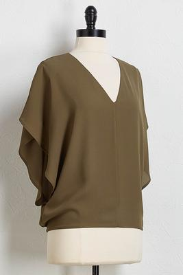 draped sleeve v-neck top