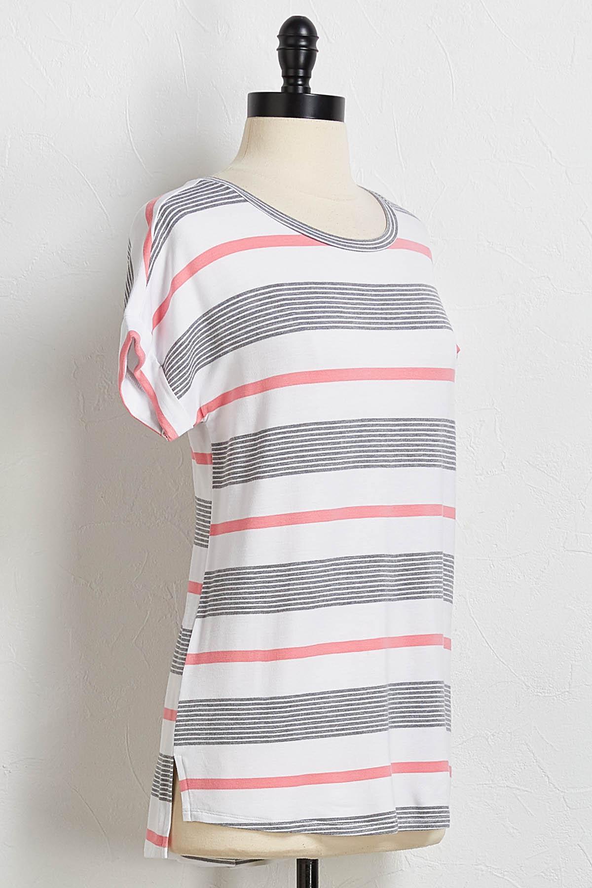 Striped Cuff Sleeve Tee