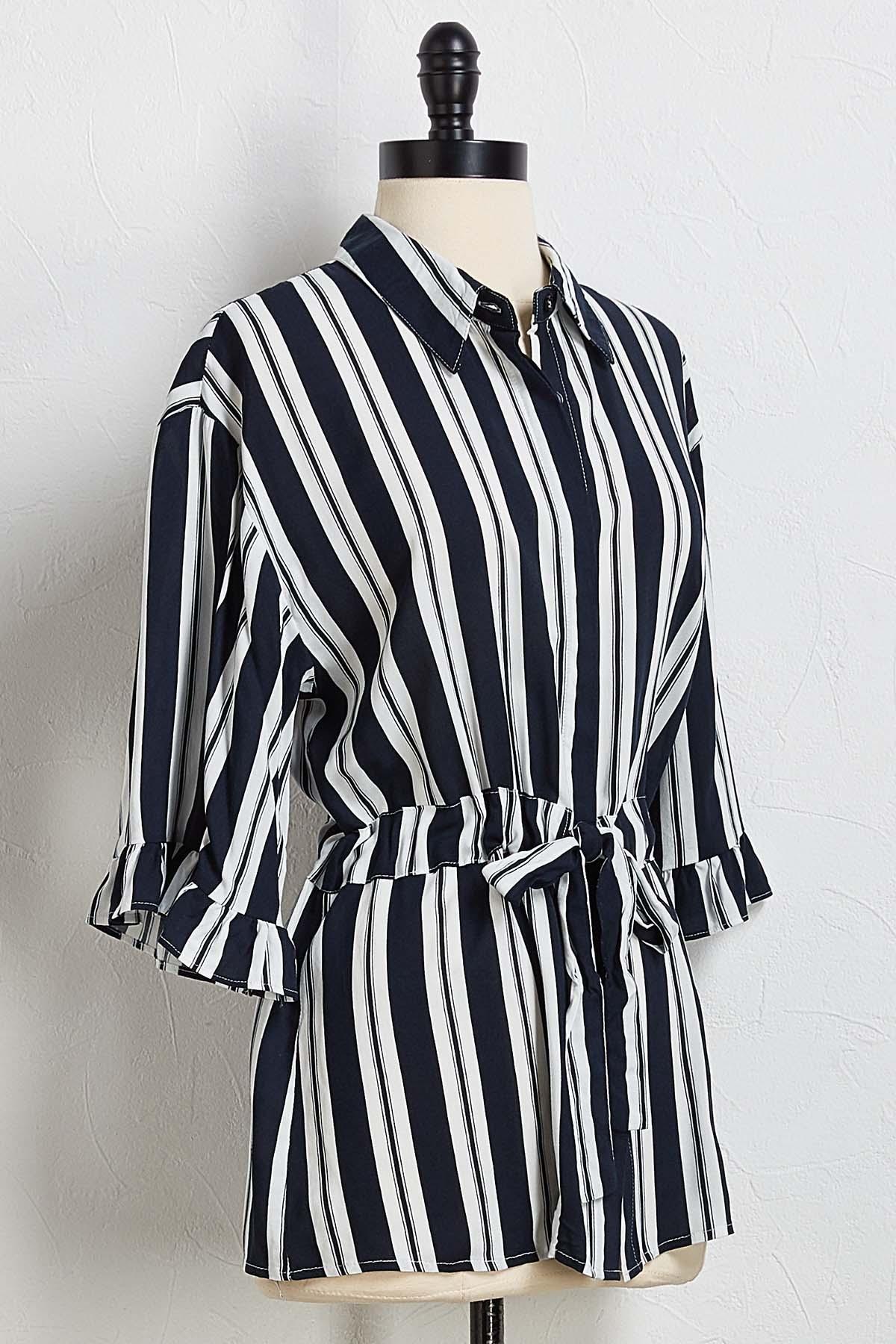 Navy Stripe Tie Waist Top
