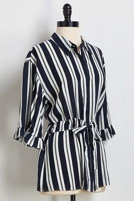 navy stripe tie waist top