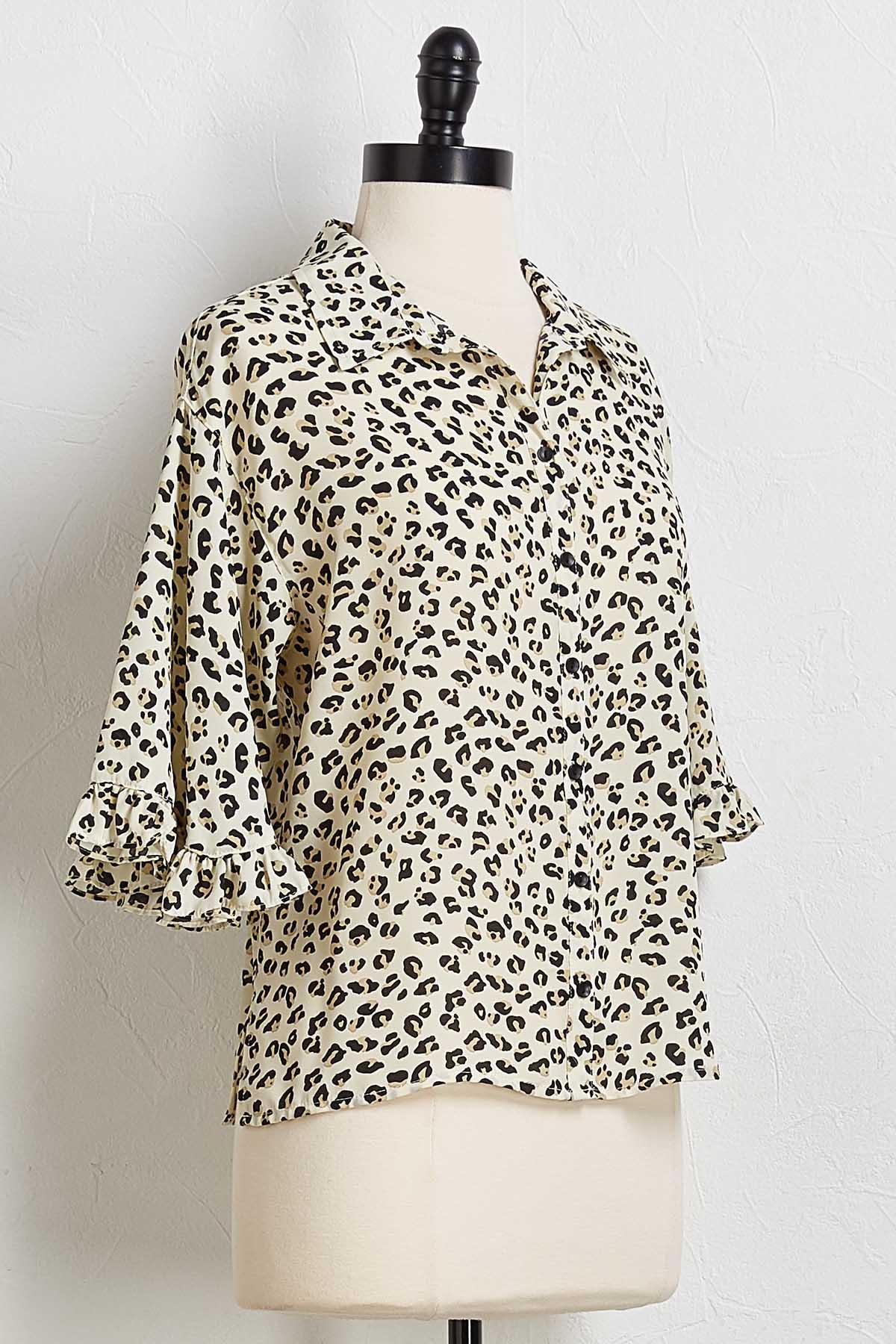 Leopard Ruffle Trim Shirt