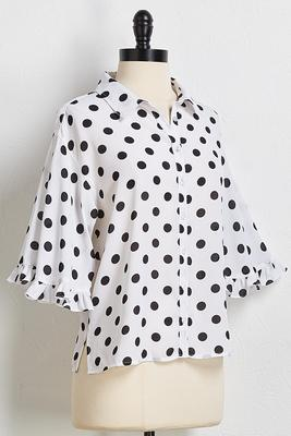 polka dot ruffle trim shirt