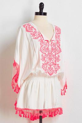 pink tasseled cover-up