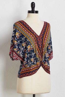 twist hem border print top