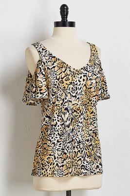 leopard bare shoulder top