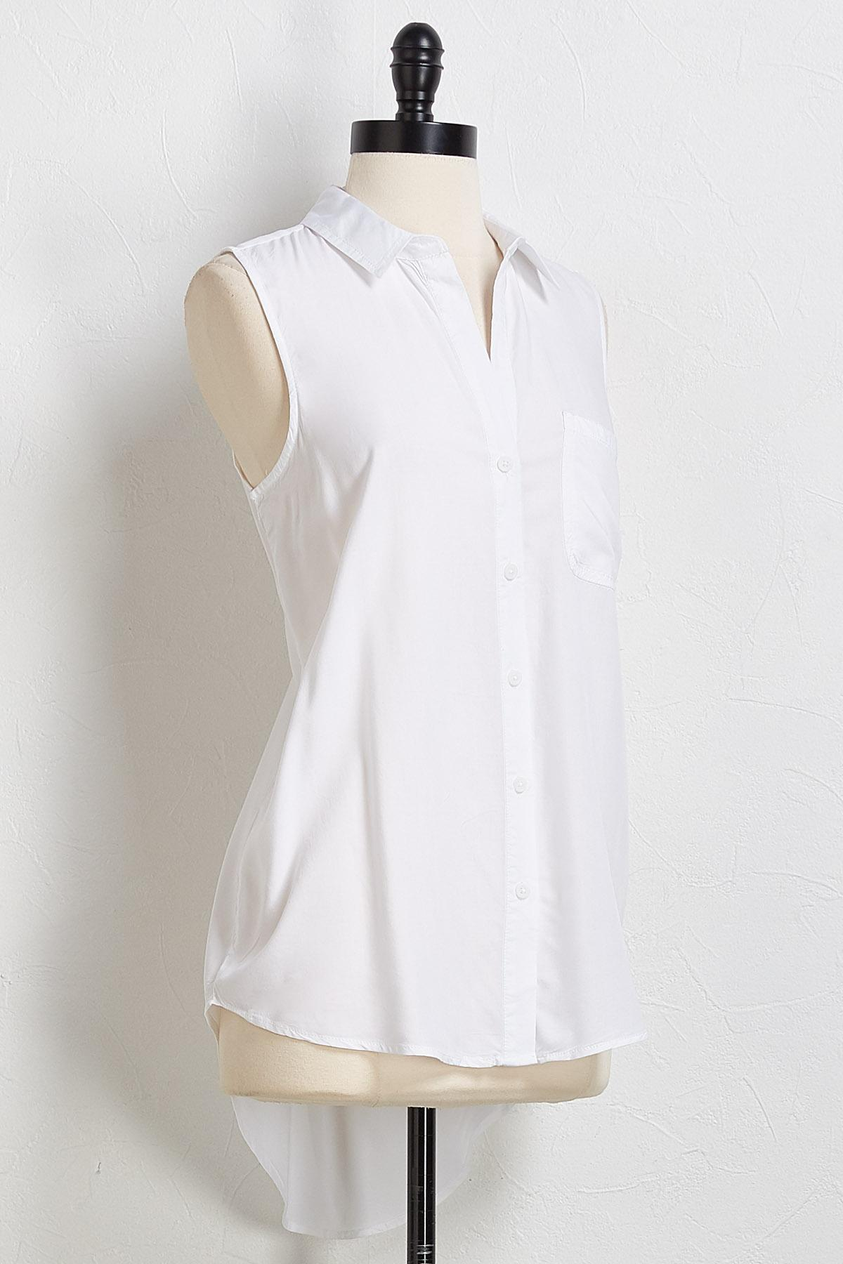 Button Down High- Low Tank