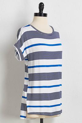 shades of blue striped tee
