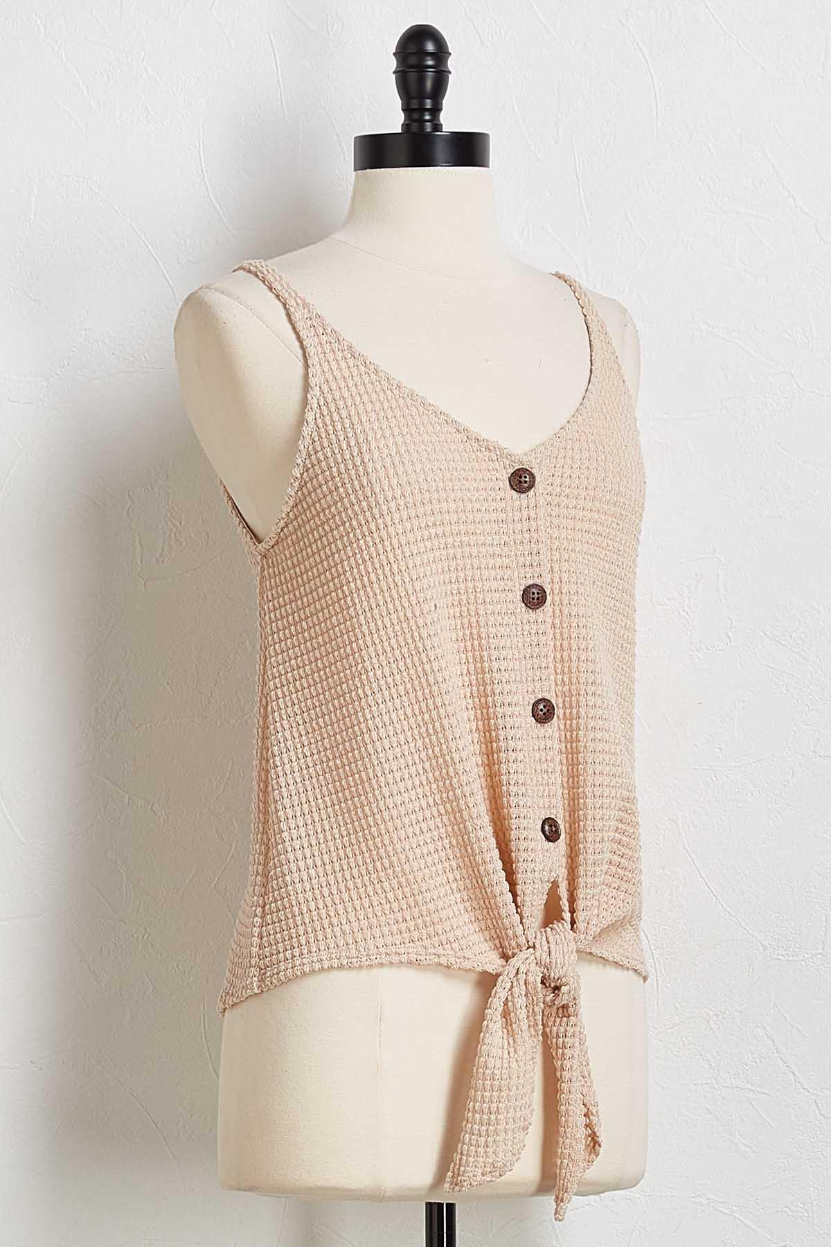 Waffle Button Down Tank