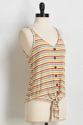 earth stripe tie front tank