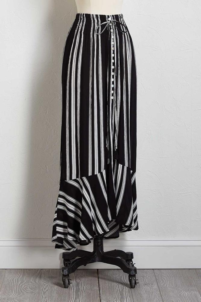 Gauze Stripe Maxi Skirt