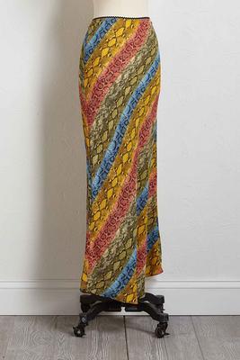 rainbow snakeskin print maxi skirt