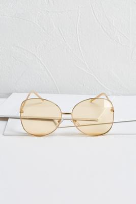 nude round metal sunglasses