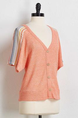 contrast sleeve button front top