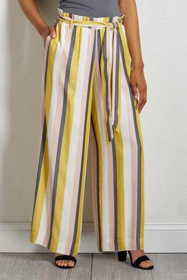 striped ruffle tie waist pants