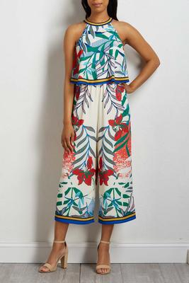 cropped tropical jumpsuit