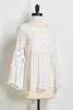 White Crepe Bell Sleeve Top