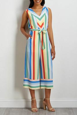 rainbow stripe cropped jumpsuit
