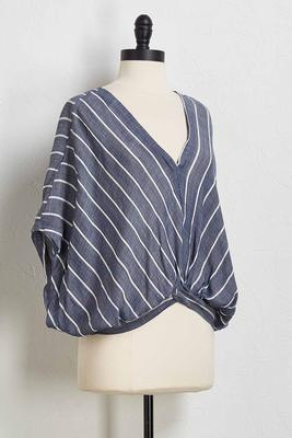 striped v-neck blouson top