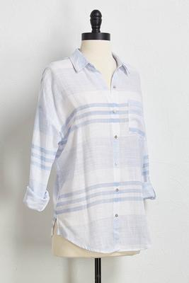 mix stripe boyfriend shirt