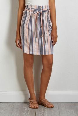 blush stripe mini skirt