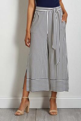 stripe cropped palazzo pants