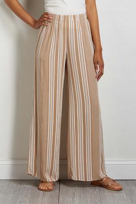 neutral stripe palazzo pants