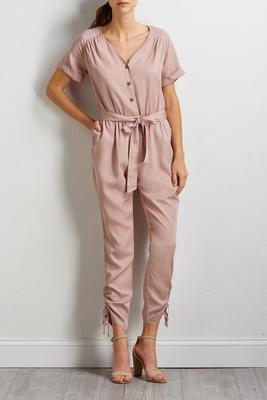 blush tie waist jumpsuit
