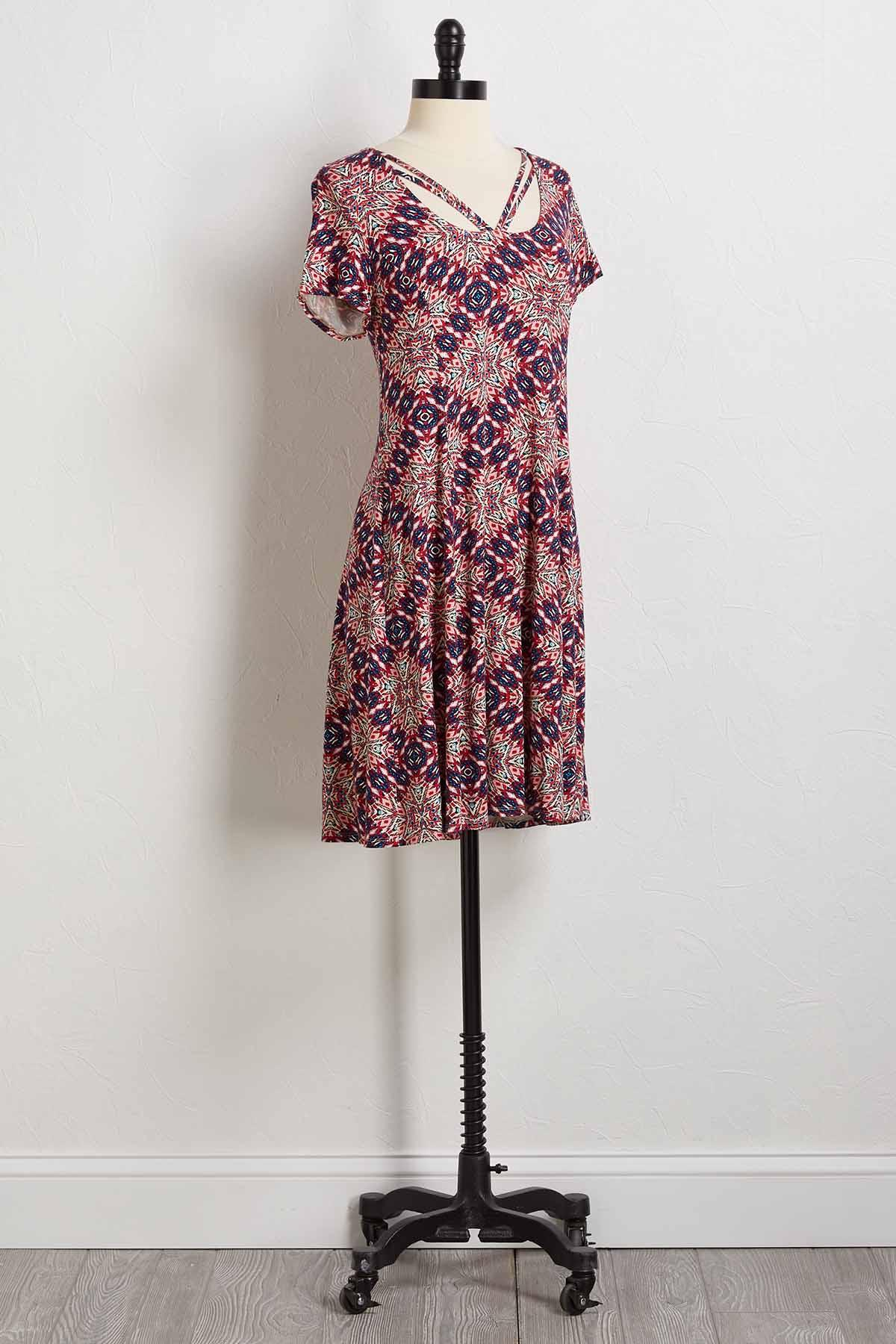 Tribal Strappy Scoop Neck Dress