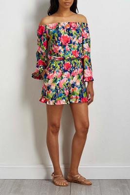 ruffled floral romper