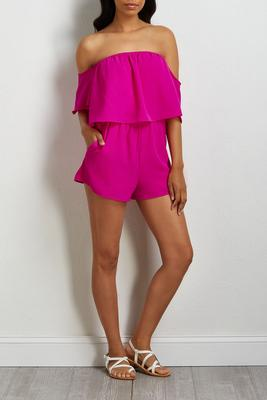 crepe off the shoulder romper