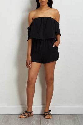 black crepe off the shoulder romper