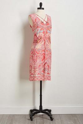 puff paisley sheath dress