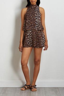 mock neck leopard romper