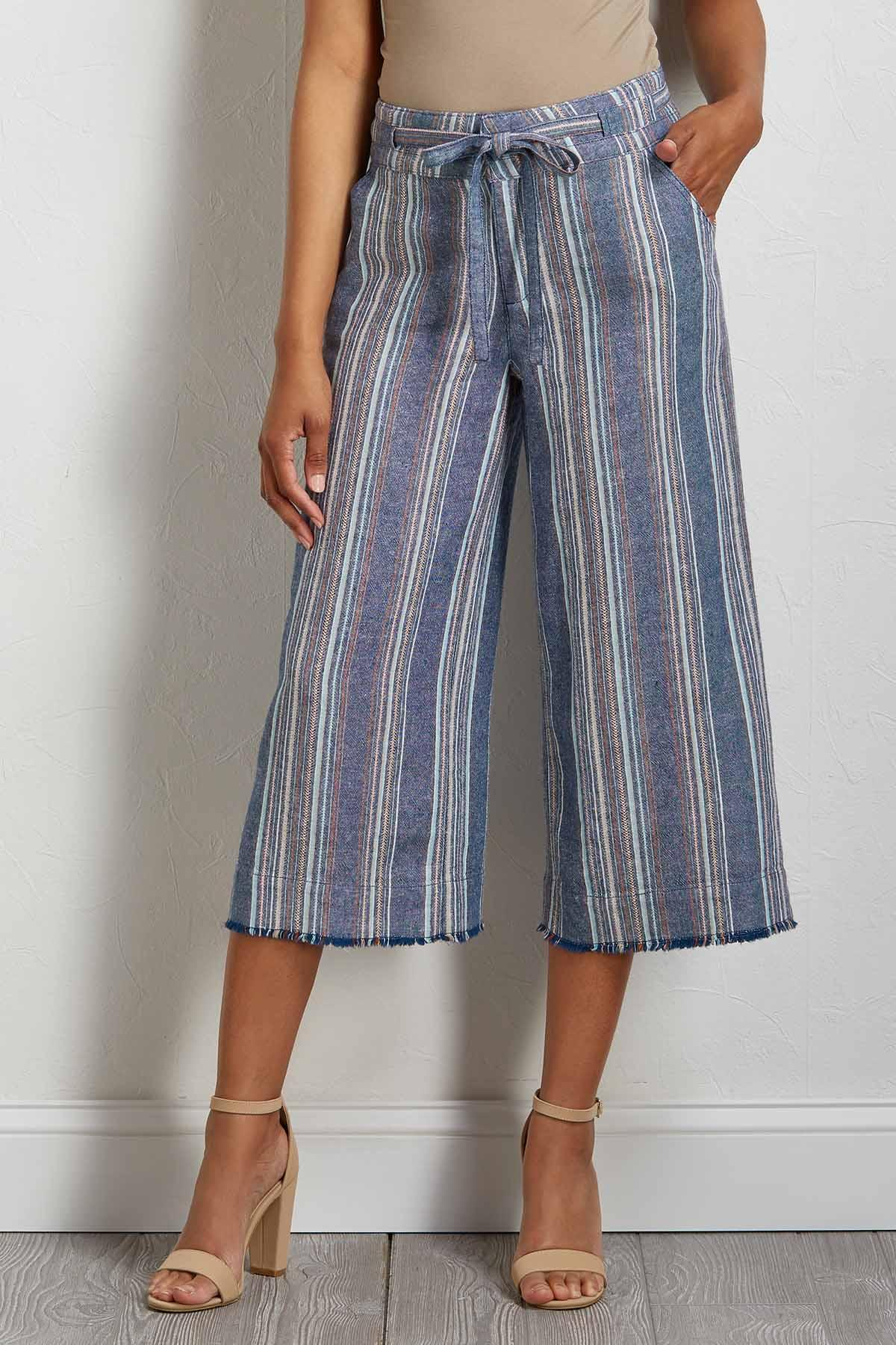 Navy Stripe Linen Pants