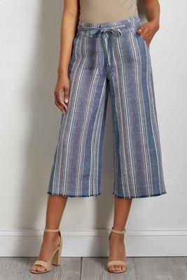 navy stripe linen pants