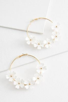 lucite flower hoop earrings